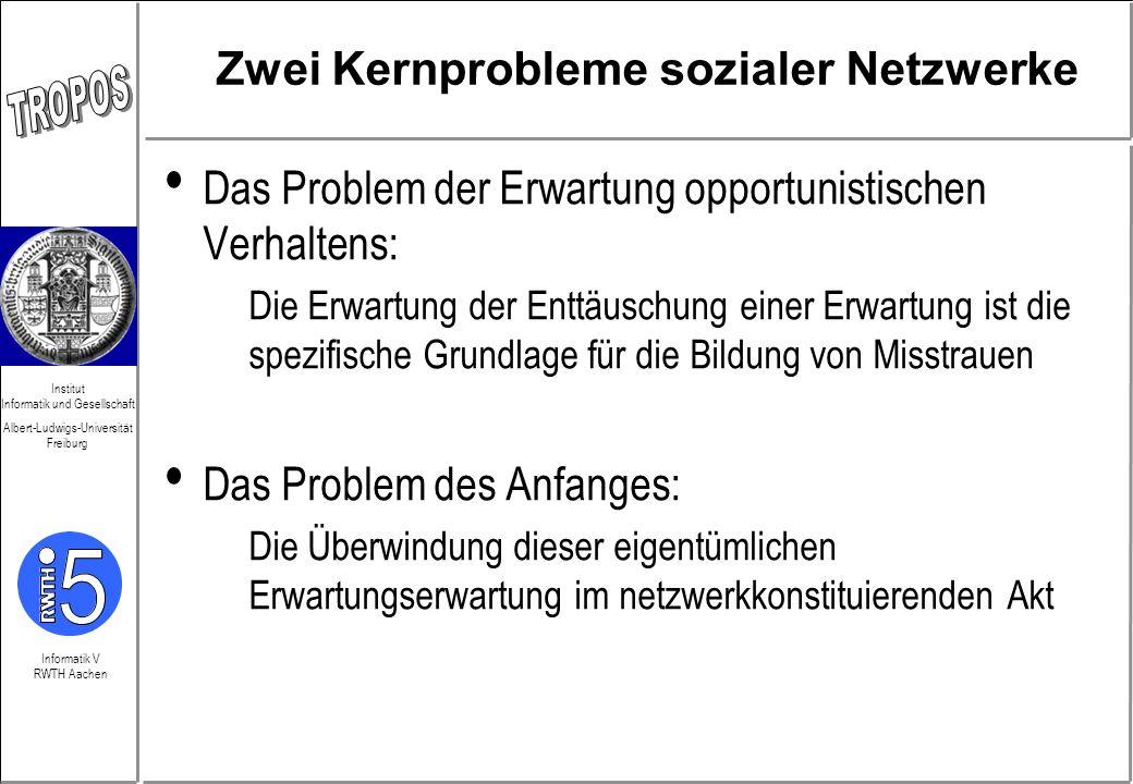 Informatik V RWTH Aachen Institut Informatik und Gesellschaft Albert-Ludwigs-Universität Freiburg Zwei Kernprobleme sozialer Netzwerke Das Problem der