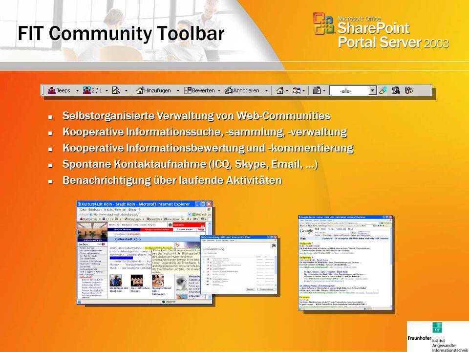 FIT Community Toolbar Selbstorganisierte Verwaltung von Web-Communities Selbstorganisierte Verwaltung von Web-Communities Kooperative Informationssuche, -sammlung, -verwaltung Kooperative Informationssuche, -sammlung, -verwaltung Kooperative Informationsbewertung und -kommentierung Kooperative Informationsbewertung und -kommentierung Spontane Kontaktaufnahme (ICQ, Skype, Email, …) Spontane Kontaktaufnahme (ICQ, Skype, Email, …) Benachrichtigung über laufende Aktivitäten Benachrichtigung über laufende Aktivitäten