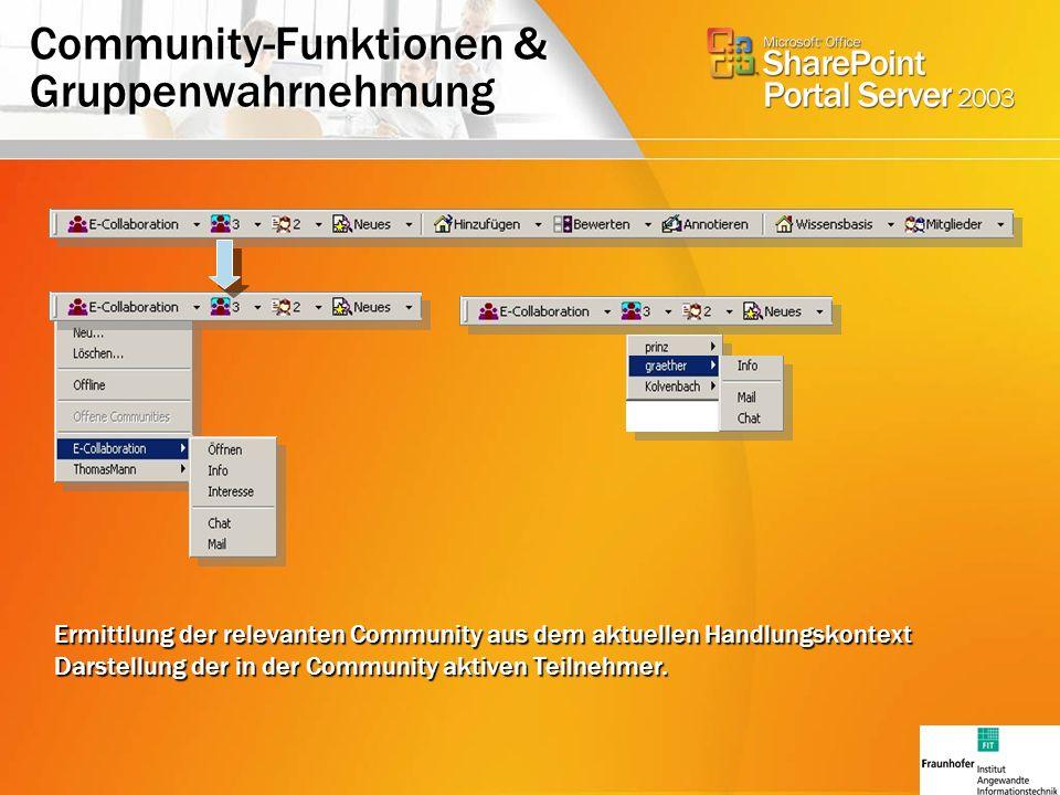 Community-Funktionen & Gruppenwahrnehmung Ermittlung der relevanten Community aus dem aktuellen Handlungskontext Darstellung der in der Community aktiven Teilnehmer.