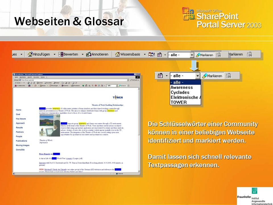 Webseiten & Glossar Die Schlüsselwörter einer Community können in einer beliebigen Webseite identifiziert und markiert werden.