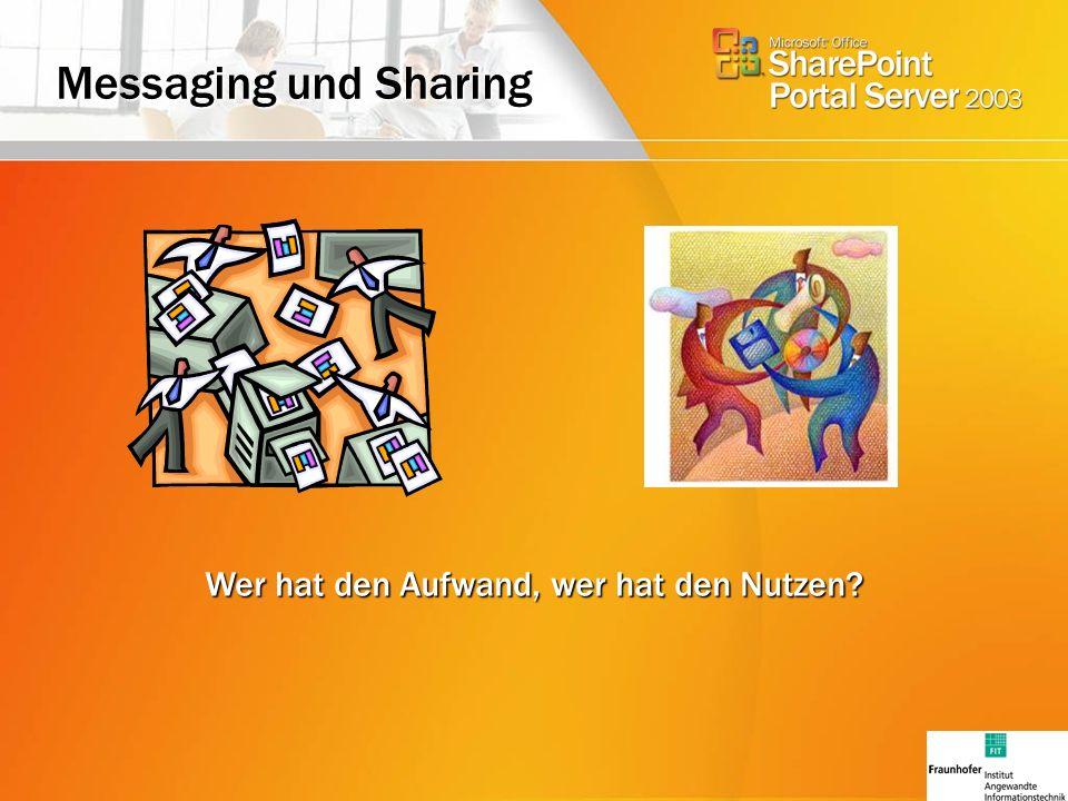 Messaging und Sharing Wer hat den Aufwand, wer hat den Nutzen?