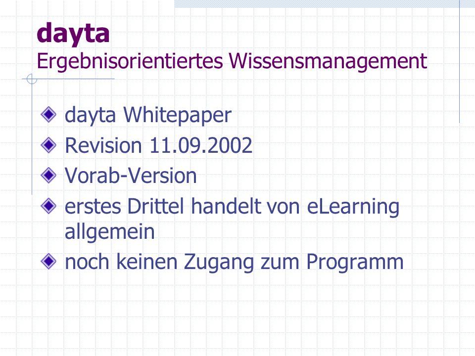 dayta Ergebnisorientiertes Wissensmanagement dayta Whitepaper Revision 11.09.2002 Vorab-Version erstes Drittel handelt von eLearning allgemein noch keinen Zugang zum Programm