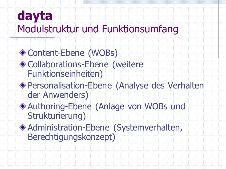 dayta ZOPE - Ausblick dayta basiert auf ZOPE (Open Source www.zope.org )www.zope.org Entwicklungsumgebung für Web-Applikationen mit dynamischem und interaktivem Inhalt Web-basierte Verwaltungsoberfläche objektorientierte Struktur Erweiterbarkeit durch Skriptsprachen Anbindung an externe Datenquellen Integrierter Sicherheitsmechanismus Skalierbarkeit