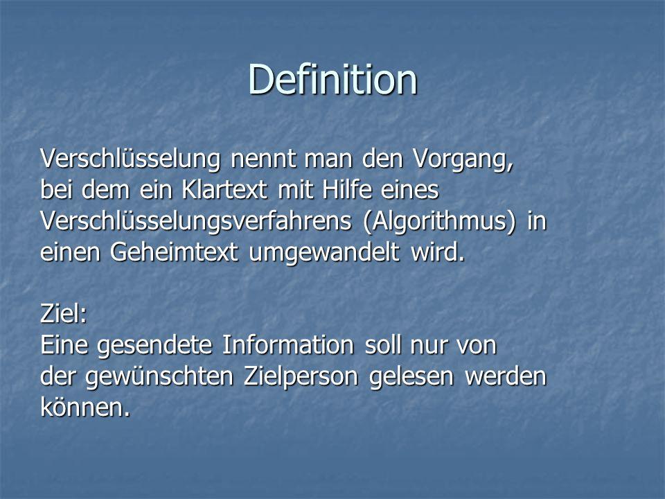 Definition Verschlüsselung nennt man den Vorgang, bei dem ein Klartext mit Hilfe eines Verschlüsselungsverfahrens (Algorithmus) in einen Geheimtext um