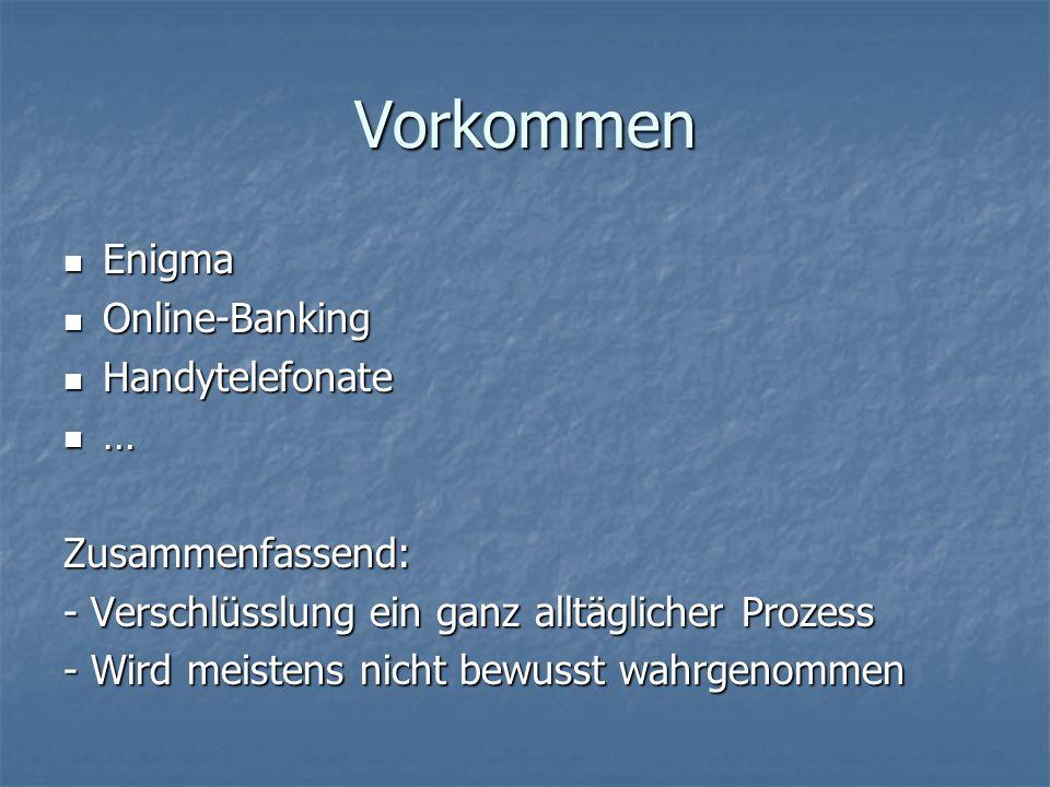 Vorkommen Enigma Enigma Online-Banking Online-Banking Handytelefonate Handytelefonate …Zusammenfassend: - Verschlüsslung ein ganz alltäglicher Prozess