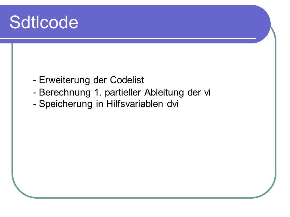 Sdtlcode - Erweiterung der Codelist - Berechnung 1.