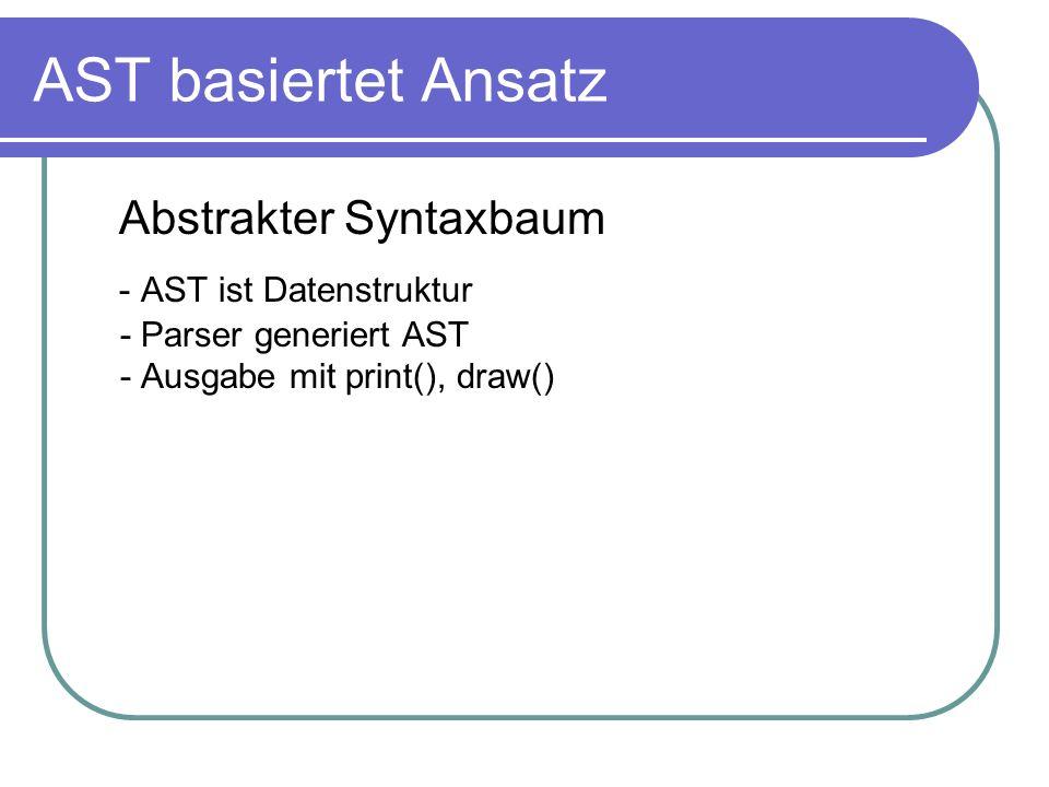 AST basiertet Ansatz Abstrakter Syntaxbaum - AST ist Datenstruktur - Parser generiert AST - Ausgabe mit print(), draw()