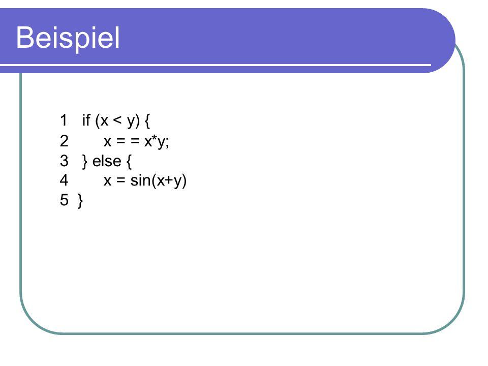 Beispiel 1 if (x < y) { 2 x = = x*y; 3 } else { 4 x = sin(x+y) 5 }