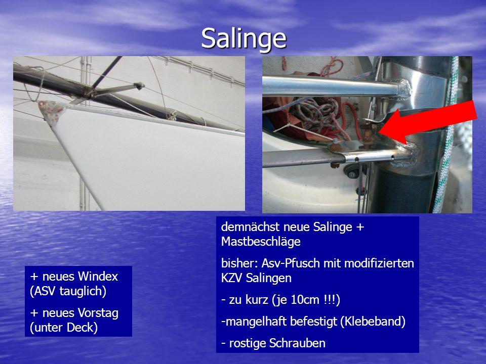Salinge demnächst neue Salinge + Mastbeschläge bisher: Asv-Pfusch mit modifizierten KZV Salingen - zu kurz (je 10cm !!!) -mangelhaft befestigt (Klebeb