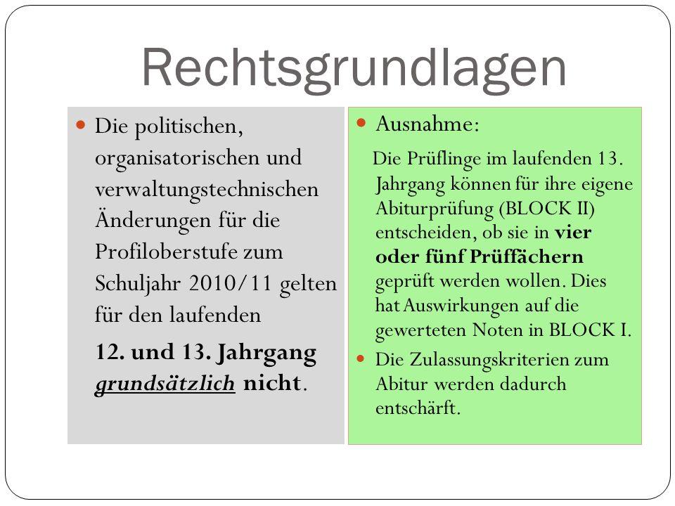 Rechtsgrundlagen Die politischen, organisatorischen und verwaltungstechnischen Änderungen für die Profiloberstufe zum Schuljahr 2010/11 gelten für den