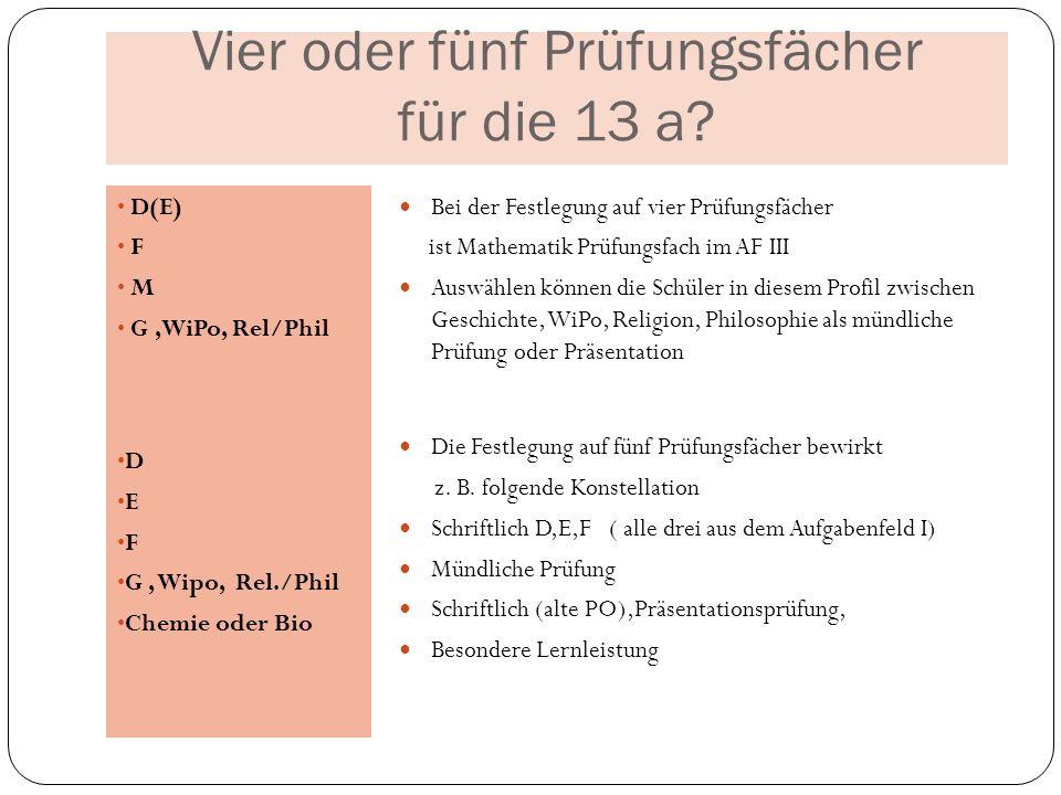 Vier oder fünf Prüfungsfächer für die 13 a? D(E) F M G,WiPo, Rel/Phil D E F G, Wipo, Rel./Phil Chemie oder Bio Bei der Festlegung auf vier Prüfungsfäc