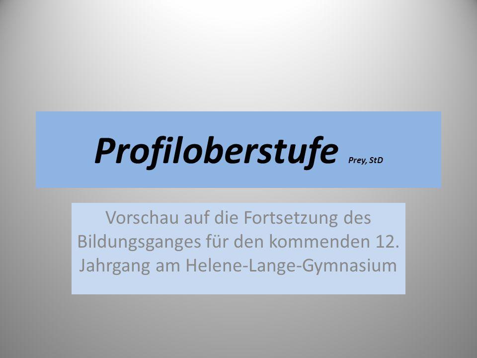 Profiloberstufe Prey, StD Vorschau auf die Fortsetzung des Bildungsganges für den kommenden 12. Jahrgang am Helene-Lange-Gymnasium