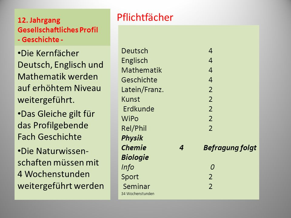 12. Jahrgang Gesellschaftliches Profil - Geschichte - Pflichtfächer Die Kernfächer Deutsch, Englisch und Mathematik werden auf erhöhtem Niveau weiterg