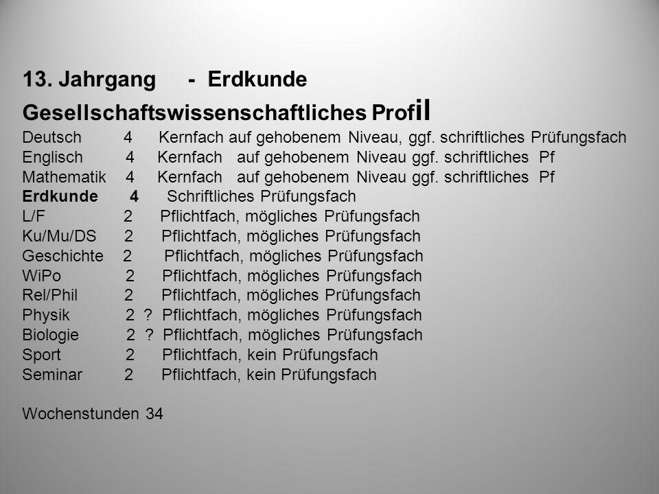 13. Jahrgang - Erdkunde Gesellschaftswissenschaftliches Prof il Deutsch 4 Kernfach auf gehobenem Niveau, ggf. schriftliches Prüfungsfach Englisch 4 Ke