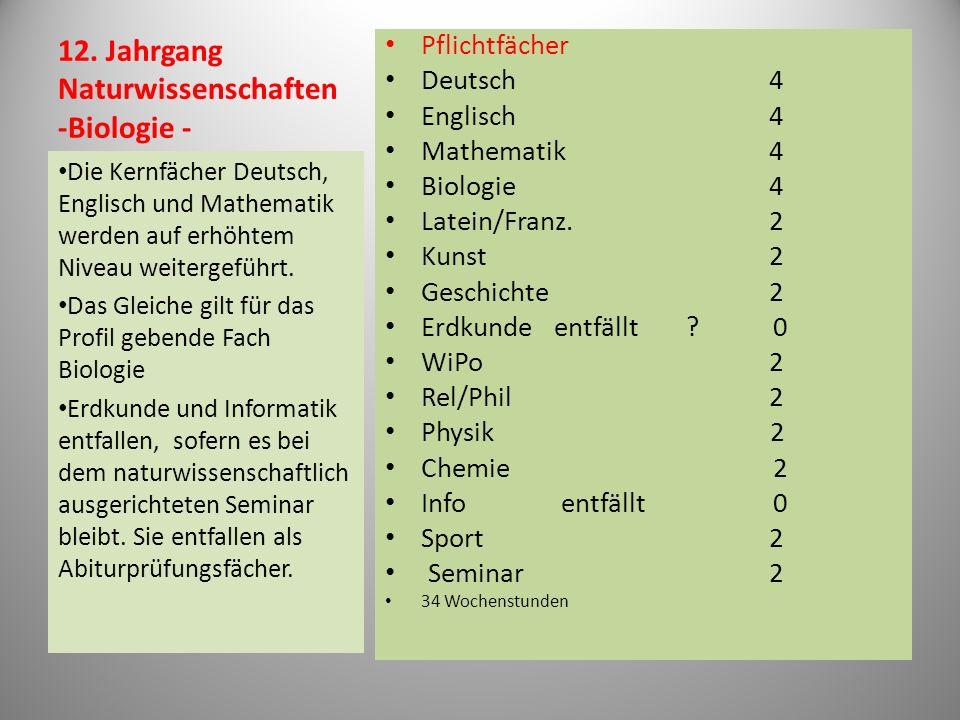 12. Jahrgang Naturwissenschaften -Biologie - Pflichtfächer Deutsch4 Englisch4 Mathematik4 Biologie4 Latein/Franz.2 Kunst2 Geschichte2 Erdkunde entfäll