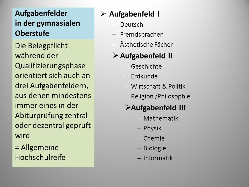 Aufgabenfelder in der gymnasialen Oberstufe Aufgabenfeld I – Deutsch – Fremdsprachen – Ästhetische Fächer Aufgabenfeld II Geschichte Erdkunde Wirtscha