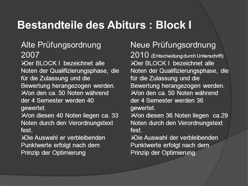 Bestandteile des Abiturs : Block I Alte Prüfungsordnung 2007 Der BLOCK I bezeichnet alle Noten der Qualifizierungsphase, die für die Zulassung und die