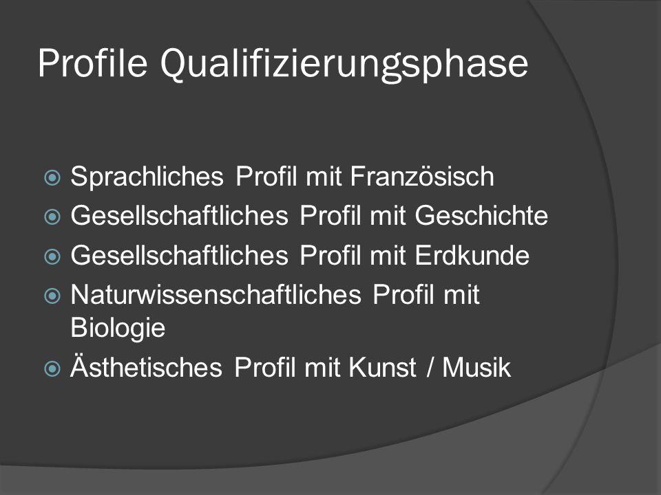 Profile Qualifizierungsphase Sprachliches Profil mit Französisch Gesellschaftliches Profil mit Geschichte Gesellschaftliches Profil mit Erdkunde Natur