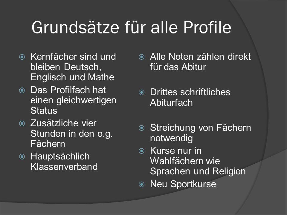 Grundsätze für alle Profile Kernfächer sind und bleiben Deutsch, Englisch und Mathe Das Profilfach hat einen gleichwertigen Status Zusätzliche vier St
