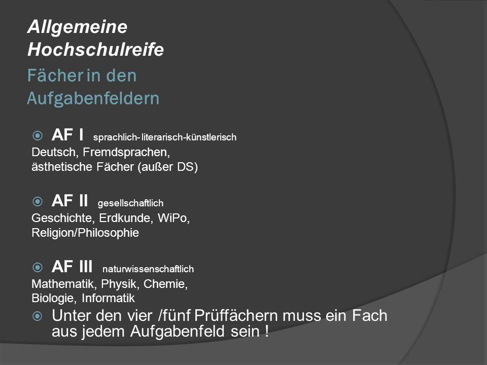 Fächer in den Aufgabenfeldern Allgemeine Hochschulreife AF I sprachlich- literarisch-künstlerisch Deutsch, Fremdsprachen, ästhetische Fächer (außer DS