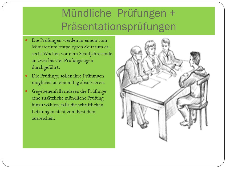 Mündliche Prüfungen + Präsentationsprüfungen Die Prüfungen werden in einem vom Ministerium festgelegten Zeitraum ca.