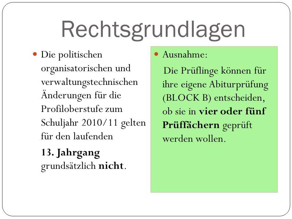 Rechtsgrundlagen Die politischen organisatorischen und verwaltungstechnischen Änderungen für die Profiloberstufe zum Schuljahr 2010/11 gelten für den laufenden 13.
