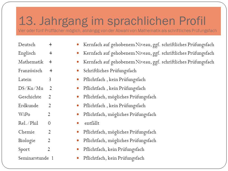 13. Jahrgang im sprachlichen Profil Vier oder fünf Prüffächer möglich, abhängig von der Abwahl von Mathematik als schriftliches Prüfungsfach Deutsch 4