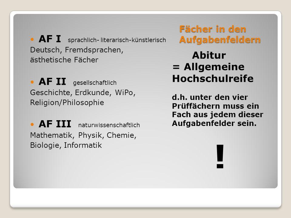 Fächer in den Aufgabenfeldern Abitur = Allgemeine Hochschulreife d.h.