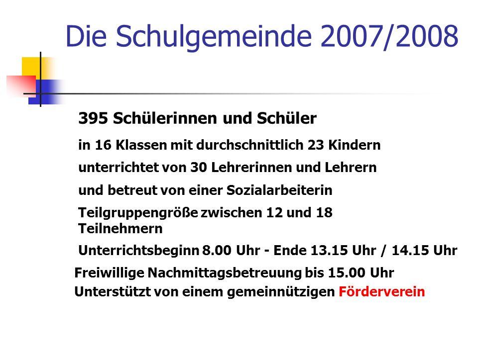 Die Schulgemeinde 2007/2008 395 Schülerinnen und Schüler unterrichtet von 30 Lehrerinnen und Lehrern und betreut von einer Sozialarbeiterin in 16 Klas
