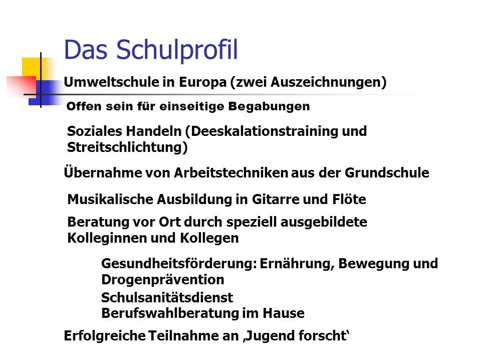 Das Schulprofil Umweltschule in Europa (zwei Auszeichnungen) Berufswahlberatung im Hause Soziales Handeln (Deeskalationstraining und Streitschlichtung