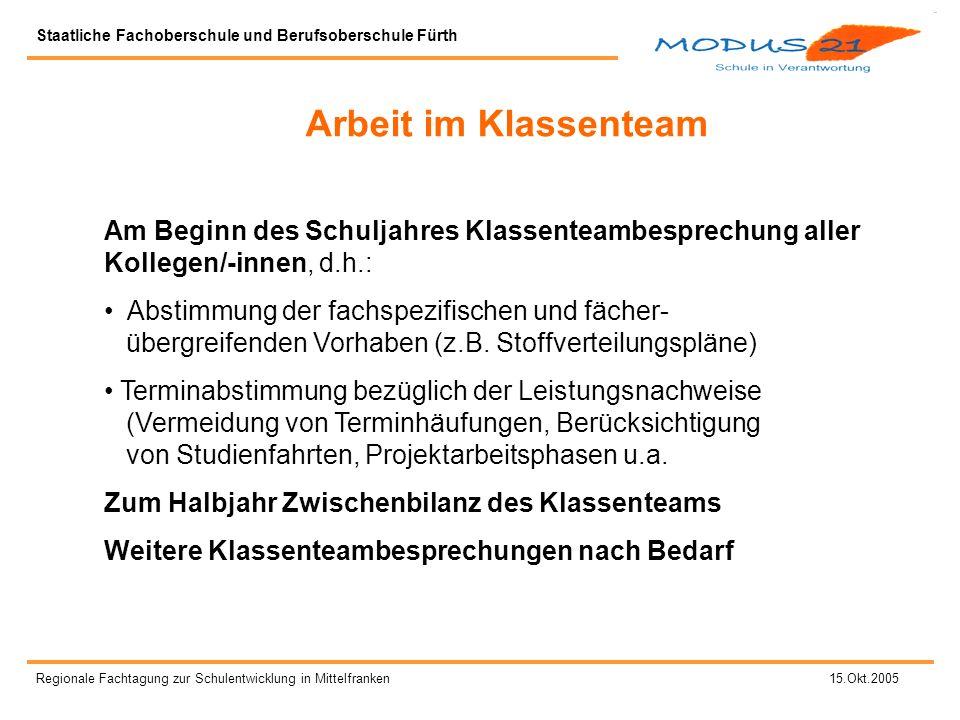Staatliche Fachoberschule und Berufsoberschule Fürth Regionale Fachtagung zur Schulentwicklung in Mittelfranken 15.Okt.2005 Was ist Projektarbeit.