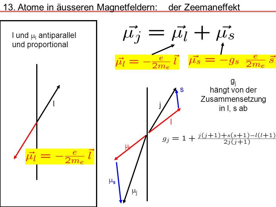 13. Atome in äusseren Magnetfeldern:der Zeemaneffekt l und l antiparallel und proportional l g j hängt von der Zusammensetzung in l, s ab j l s l s j