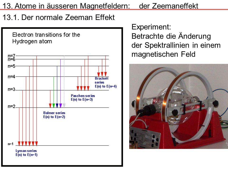 Experiment: Betrachte die Änderung der Spektrallinien in einem magnetischen Feld 13.1. Der normale Zeeman Effekt