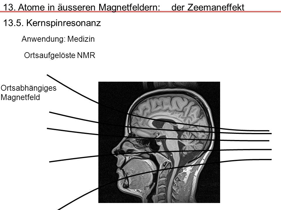 13. Atome in äusseren Magnetfeldern:der Zeemaneffekt 13.5. Kernspinresonanz Anwendung: Medizin Ortsaufgelöste NMR Ortsabhängiges Magnetfeld