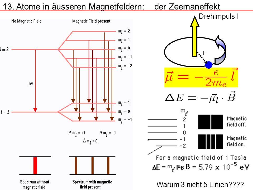 13. Atome in äusseren Magnetfeldern:der Zeemaneffekt Drehimpuls l r Warum 3 nicht 5 Linien????