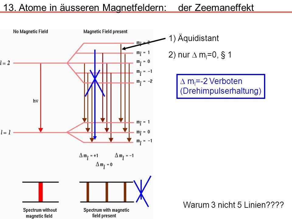 13. Atome in äusseren Magnetfeldern:der Zeemaneffekt Warum 3 nicht 5 Linien???? 1) Äquidistant 2) nur m l =0, § 1 m l =-2 Verboten (Drehimpulserhaltun