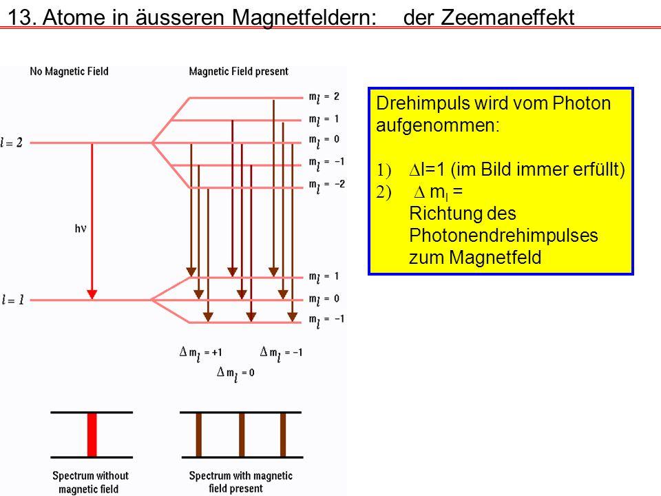 13. Atome in äusseren Magnetfeldern:der Zeemaneffekt Drehimpuls wird vom Photon aufgenommen: l=1 (im Bild immer erfüllt) 2) m l = Richtung des Photone