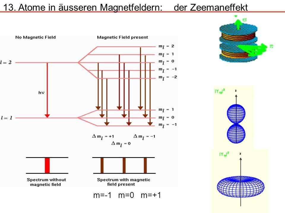 13. Atome in äusseren Magnetfeldern:der Zeemaneffekt m=-1m=0m=+1