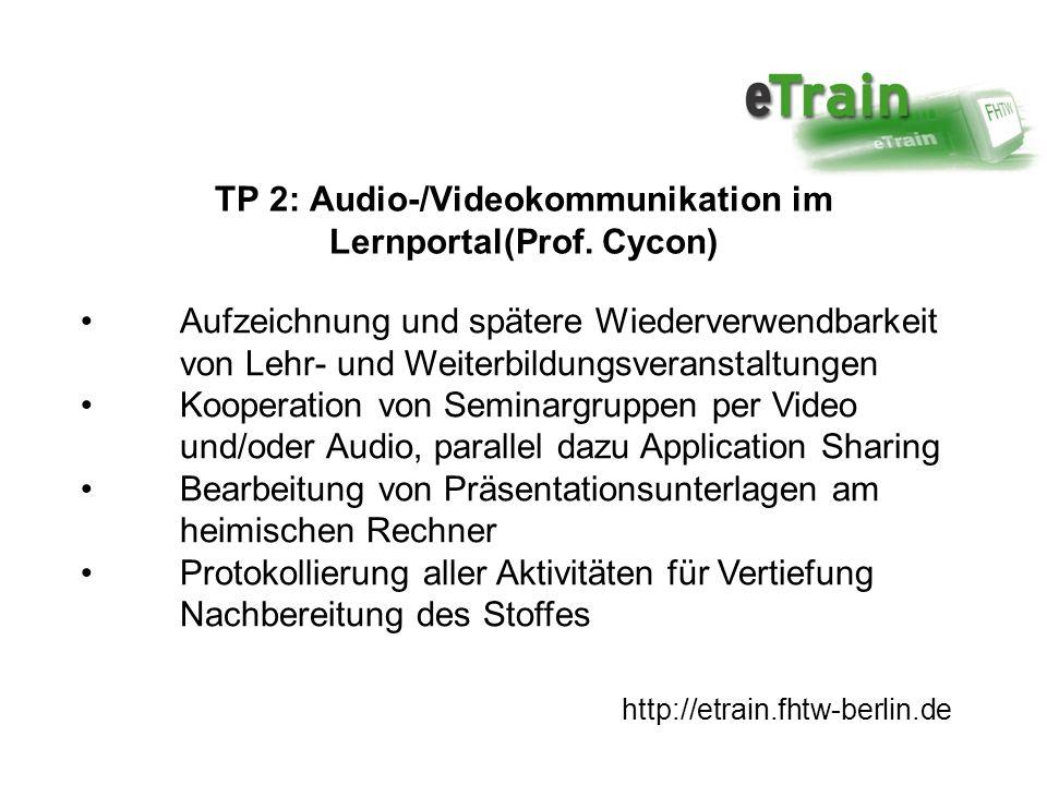 http://etrain.fhtw-berlin.de TP 3: WebLab, MessLab (Prof.