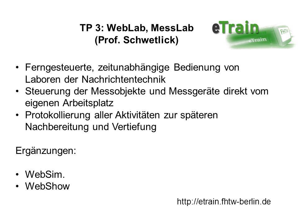 http://etrain.fhtw-berlin.de TP 3: WebLab, MessLab (Prof. Schwetlick) Ferngesteuerte, zeitunabhängige Bedienung von Laboren der Nachrichtentechnik Ste