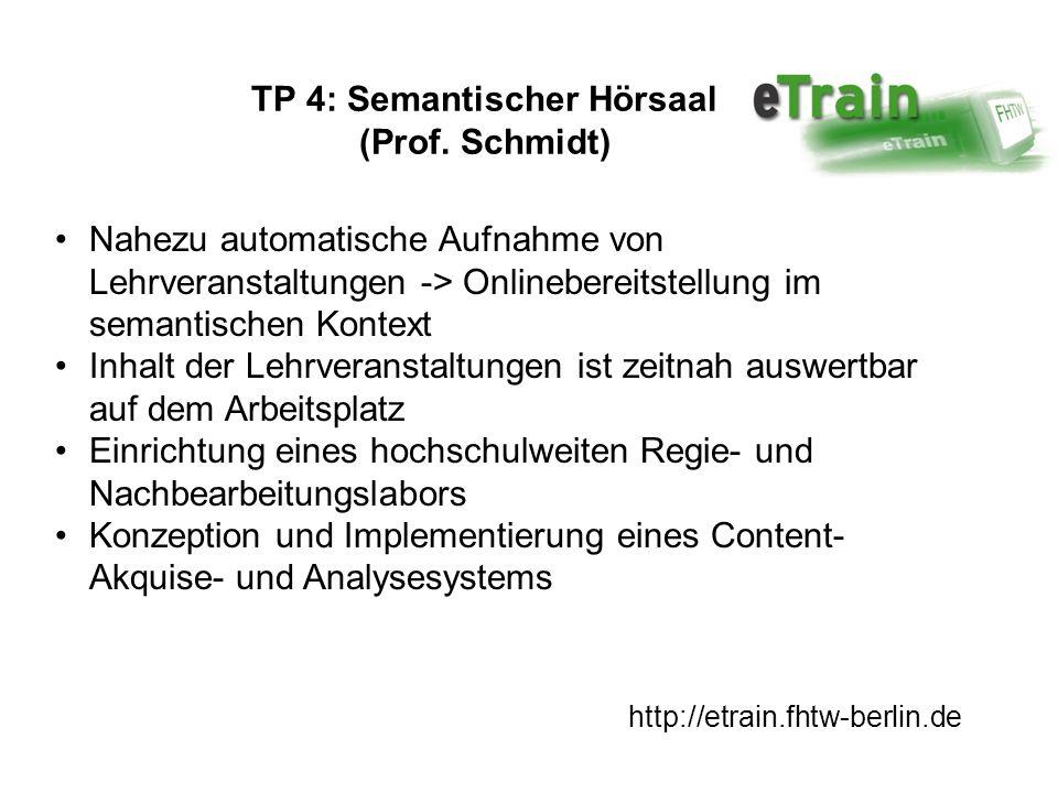 http://etrain.fhtw-berlin.de TP 4: Semantischer Hörsaal (Prof. Schmidt) Nahezu automatische Aufnahme von Lehrveranstaltungen -> Onlinebereitstellung i