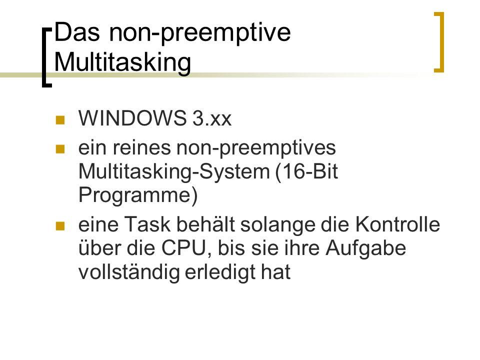 Das non-preemptive Multitasking WINDOWS 3.xx ein reines non-preemptives Multitasking-System (16-Bit Programme) eine Task behält solange die Kontrolle