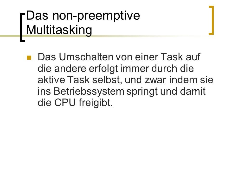 Das non-preemptive Multitasking Das Umschalten von einer Task auf die andere erfolgt immer durch die aktive Task selbst, und zwar indem sie ins Betrie