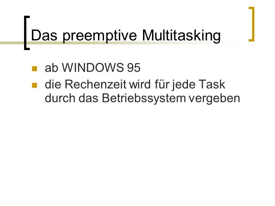 Das preemptive Multitasking ab WINDOWS 95 die Rechenzeit wird für jede Task durch das Betriebssystem vergeben