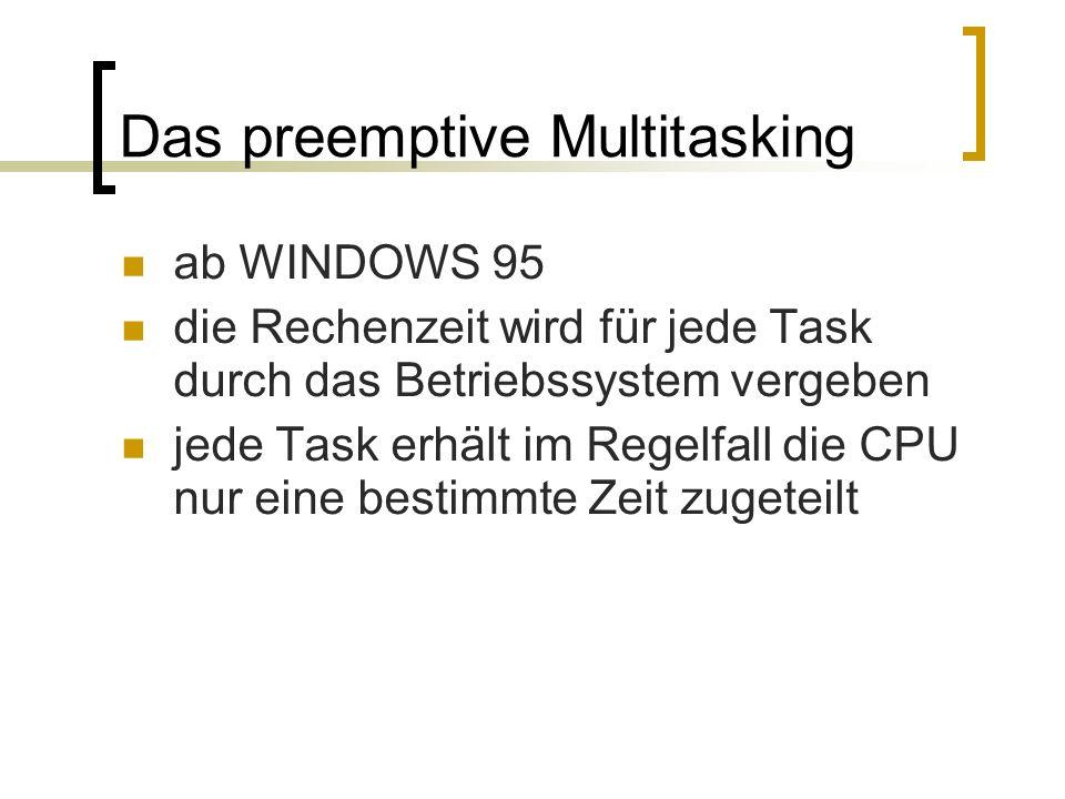 Das preemptive Multitasking ab WINDOWS 95 die Rechenzeit wird für jede Task durch das Betriebssystem vergeben jede Task erhält im Regelfall die CPU nu