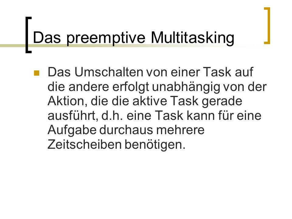 Das preemptive Multitasking Das Umschalten von einer Task auf die andere erfolgt unabhängig von der Aktion, die die aktive Task gerade ausführt, d.h.