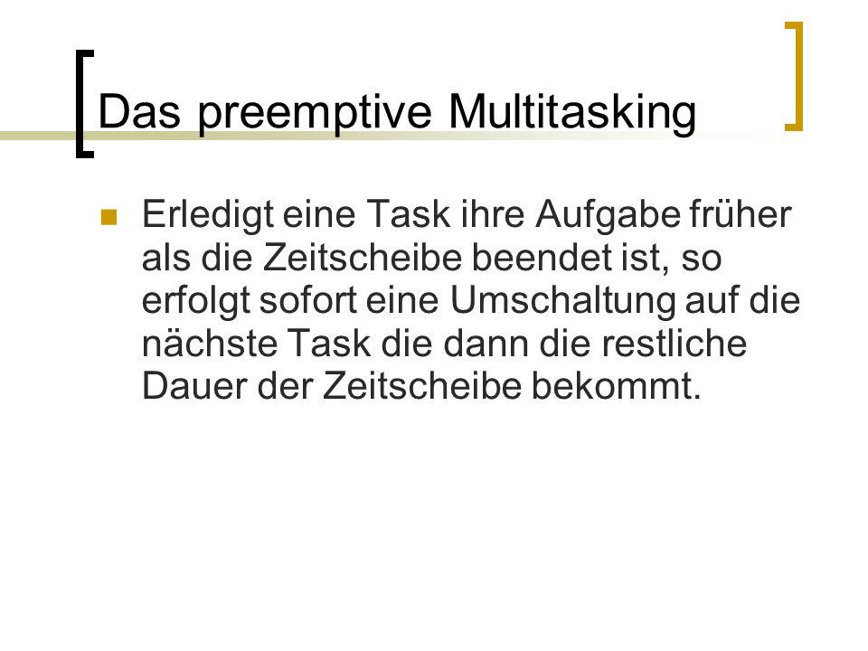 Das preemptive Multitasking Erledigt eine Task ihre Aufgabe früher als die Zeitscheibe beendet ist, so erfolgt sofort eine Umschaltung auf die nächste