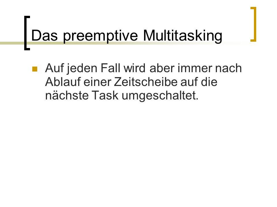 Das preemptive Multitasking Auf jeden Fall wird aber immer nach Ablauf einer Zeitscheibe auf die nächste Task umgeschaltet.