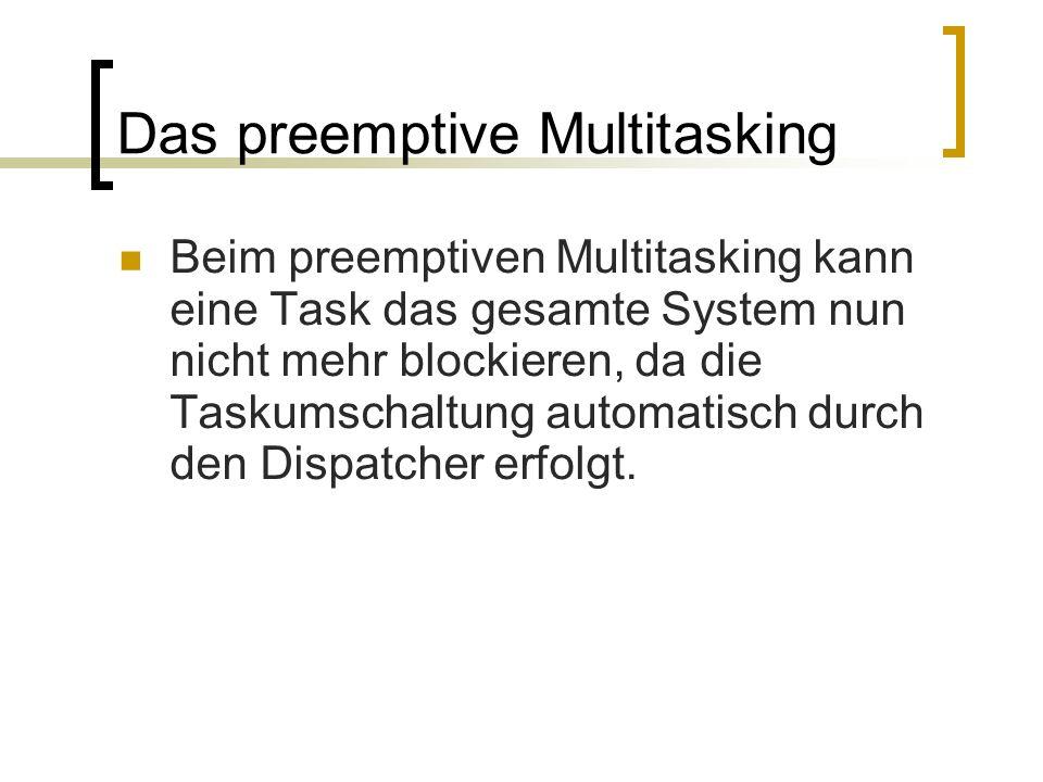 Das preemptive Multitasking Beim preemptiven Multitasking kann eine Task das gesamte System nun nicht mehr blockieren, da die Taskumschaltung automati