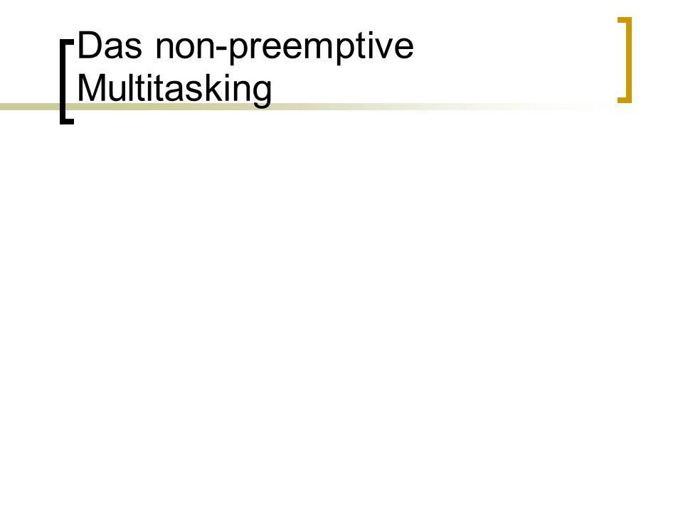 Das preemptive Multitasking ab WINDOWS 95 die Rechenzeit wird für jede Task durch das Betriebssystem vergeben jede Task erhält im Regelfall die CPU nur eine bestimmte Zeit zugeteilt